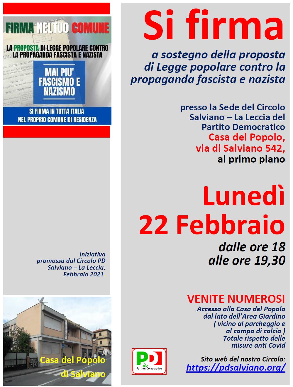Firme antifasciste a Salviano. Lunedì 22 Febbraio 2021.