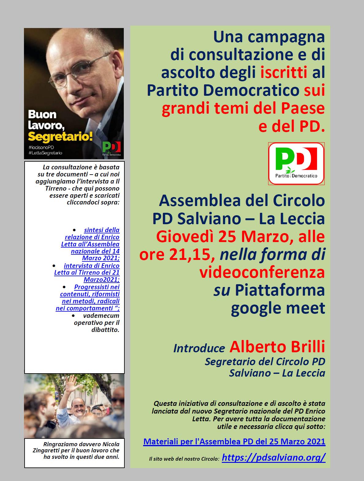 Assemblea di giovedì 25 Marzo 2021 del Circolo Pd di Salviano.